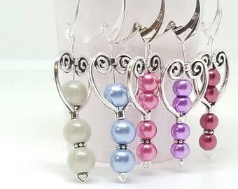 Heart earrings, Sterling silver, Glass pearl, jewelry, Dainty, Feminine, Delicate, Valentine gift, Romantic