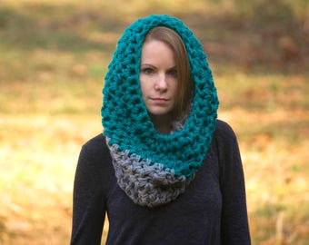 Teal and Gray Colorblock Cowl, Oversized Crochet Cowl, Turquoise Neck Warmer