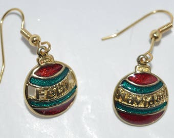 Christmas Ornament Earrings -- Feliz Navidad