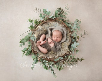 Newborn Digital Backdrop for boys - natural nest perfect for a little bunny!