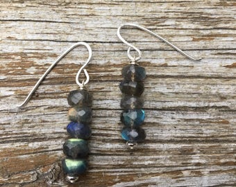 Lines of Labradorite Sterling Earrings