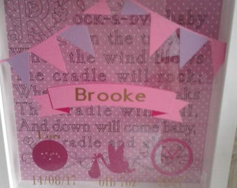Baby girl frame bank