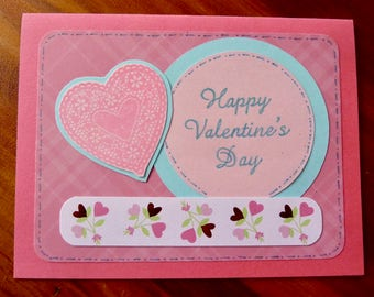 Valentine's Day Card,  Handmade Valentine, Happy Valentines Day Card, Pretty Hand Stamped Valentine Card, Paper Handmade Greeting Card