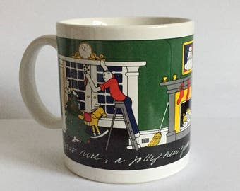 Vintage Taylor and Ng San Francisco Joyous Noel Christmas and New Year Mug, Red, Green, Yellow, Black Festive Holiday Design