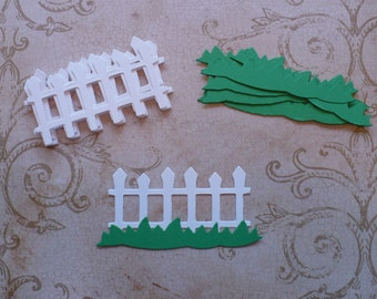 White Picket Fence Green Grass Die Cuts Cardstock for crafts cards Easter Sizzix Shapes from Cardstock