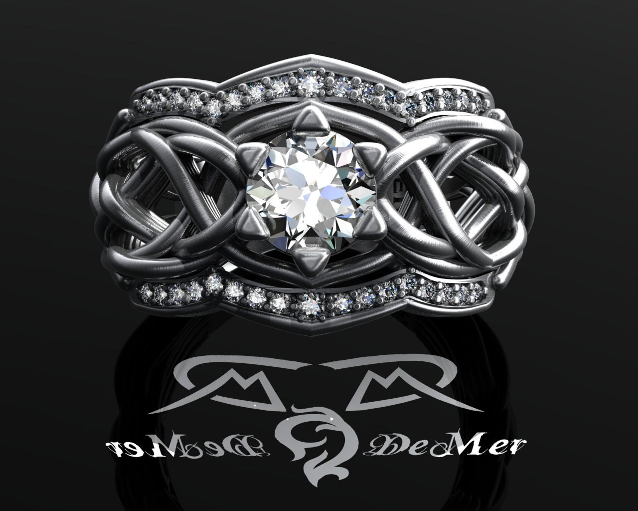elvish engagement listing ca organic fullxfull unique zoom il rings cttw celtic knotwork heavy ring