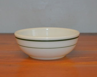 Vintage Corning Decor cereal bowl restaurant ware green bands double tough chili bowl