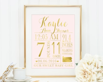 Baby Birth Stat, girl nursery print, Baby Birth Announcement Print, Nursery Wall Art, Baby Girl Nursery , Coral and Mint, Gold Nursery