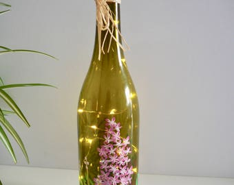 Upcycled, light bottle, pink, recycled gift, wine bottle light, lighted wine bottle, hand painted, gift for her, wedding gift, rustic, boho