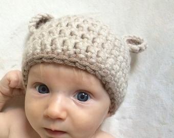Baby bear hat, 0-3 months, newborn, baby shower gift