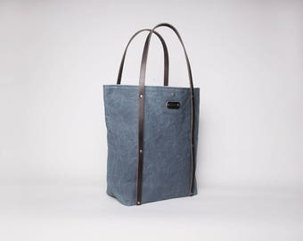 Waxed Canvas & Leather Tote Bag | Waxed Canvas Tote | Gray Waxed Canvas Tote Bag