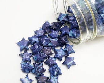 48 Celestial Paper Stars: Outer Space - Galaxy - Deep Space - Cosmos - Navy Blue - Light Blue - Mini Stars - Origami Star Decorations