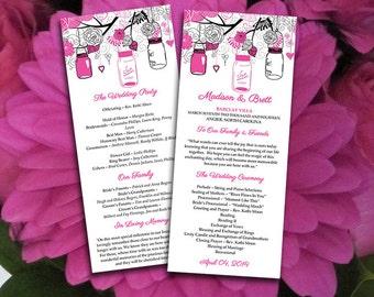 Mason Jar Wedding Program Microsoft Word Template   Hot Pink Black Ceremony Program   Printable Tea Length Wedding Program   Offbeat Bride