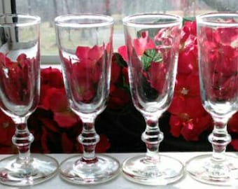 8 Stemmed Shot Glasses with Knob - Excellent Condition