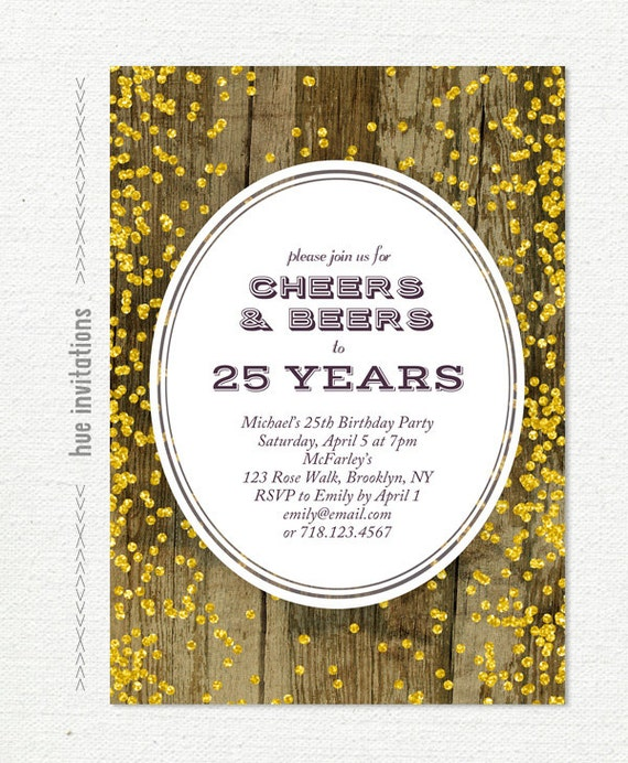 25th birthday invitation for men cheers beers to 25 years