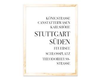 Poster, Stuttgart, Städteprint, city