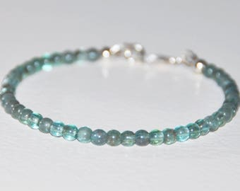 Apatite Bracelet, Sterling Silver, Therapeutic Quality, Aqua Blue, Gemstone, Stacking Bracelet, Dainty Bead, Motivation, Minimalist Jewelry