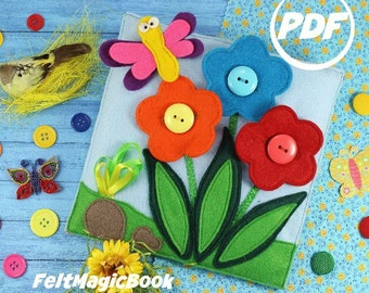 SALE! Flowers in a meadow | PDF | Quiet Book | Felt Busy Book | Toddler book | Activity Book | Fabric quiet book | Pattern
