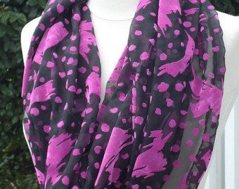 Snood scarf neck scarf woman black and fuchsia