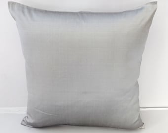 Silver  dupioni silk pillow cover- decorative silver  cushion cover  cover 16 inch. 1 in stock 20 % discount