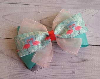 Green Pink Flamingo hair bow Accessory for girls toddler baby Hair clip Present for birthday party Hairbow Hairclip