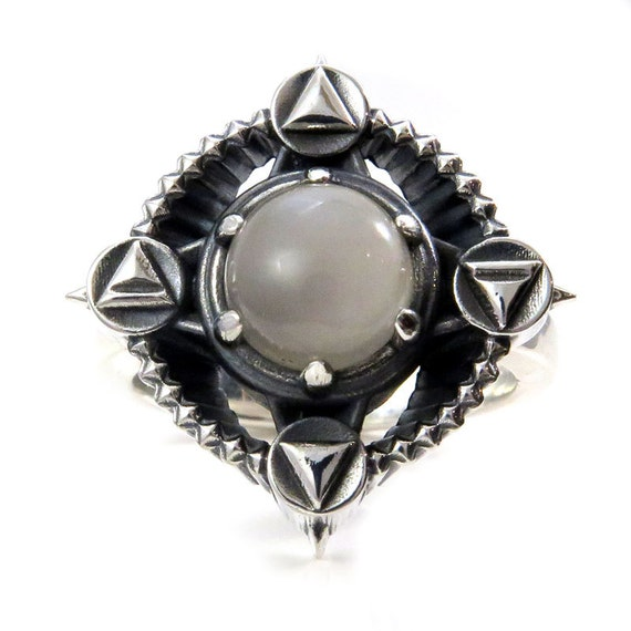 Mini or Massive Alchemy Element Silver Cocktail Ring with Gray Moonstone - Earth Air Fire Water