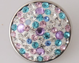 KB2408-AB  Charm with Pink, Blue and White Rhinestones