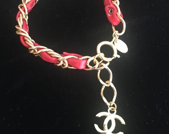 Chanel Inspired Red Leather chain bracelet with gold tone cc logo 2 sizes