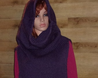 Over Size Heavy Knit Cowl Vest, Hooded Cowl, Hooded Cowl Vest, Cowl Vest