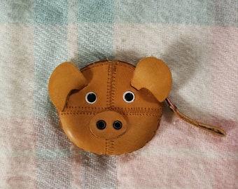 Vintage Leather Piggy Coin Purse