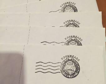 5 Hogwarts hogsmeade Owl post mark long envelopes harry potter inspired mail envelope great for fun invite