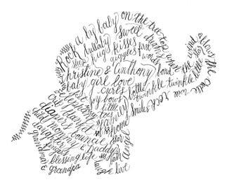 Custom Calligraphy Art Elephant