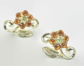 Vintage Coro Bright Orange Rhinestone Flower Silver Screw Back Earrings