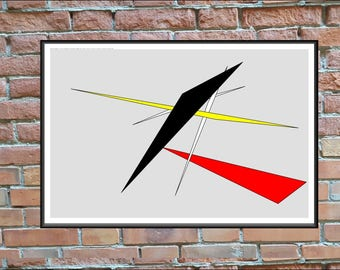 Contemporary Digital Art,  20x30 inch Poster Print on White Paper,  FiveTriangles, #20x30_018