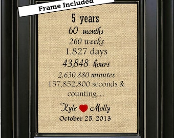 FRAMED 5 years together gift/5th Anniversary Gift/5 year Anniversary Gift/5 years of marriage/Gift for wife/Anniversary print/Gift for him