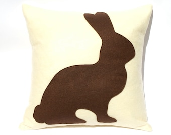 Chocolate Bunny Easter Pillow Cover Appliquéd in Milk Chocolate and Antique White Eco-Felt 18 inches