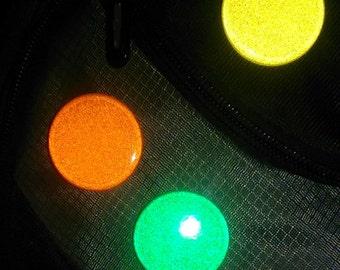 "12 Reflective Buttons / Twelve 1.25"" Reflective Pins / Dozen 1-1/4"" Pinback Reflective Buttons / 12 Reflective Pinback Badges"
