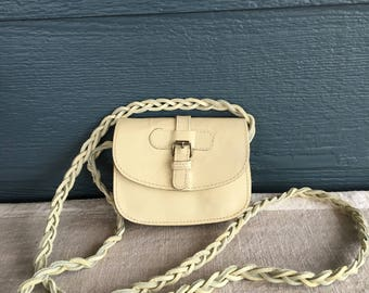 Vintage Small Purse, Ivory Leather Purse With Braided Strap