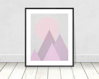 Geometric Print, Triangles Print, Printable Art, Pastel, Pink, Modern Art, Mountain Print,Scandinavian,Nordic,Abstract Art,Modern Minimalist