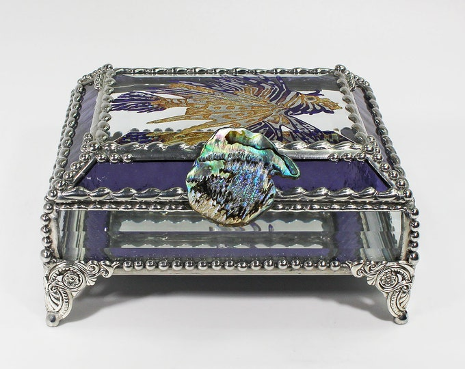 Lionfish Stained Glass Box, Trinket Box, Sea Life, Ocean creatures, Hand Painted Etched, Faberge Style