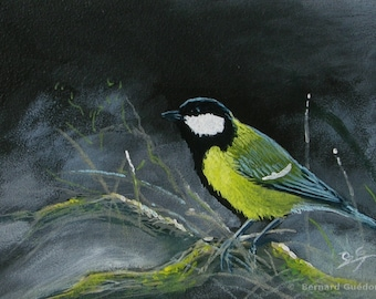 Painting bird, acrylic, coal tit on 3 mm medium-wood plaque