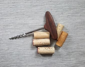 Vintage wood corkscrew bottle opener, vintage barware vintage bar cart