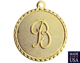 Gold Plated Letter B Initial Charm Drop with Loop (1) chr215B