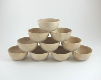 10 Small Wood Bowls | Unfinished Wooden Ring Bowl - Ring Bearer Bowl - Montessori Waldorf Craft Supplies