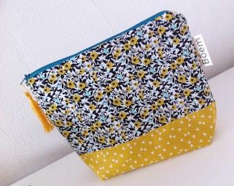 Clutch bag. Mustard & blue duck.