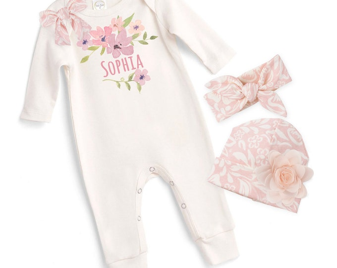 Personalized Newborn Girl Coming Home Outfit, Monogram Baby Girl Outfit, Baby Girl Take Home Romper, Custom Personalized Baby Girl Tesababe