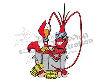 crawfish clip art etsy rh etsy com Shrimp Boil Clip Art Backgound Shrimp Boil Pot Clip Art