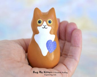 Handmade Kitty Cat Figurine, Miniature Sculpture, Ginger Orange Gold, Blue, Hug Me Kitten, Animal Totem Charm Figure, Personalized Tag