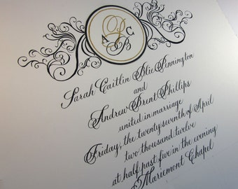 Calligraphy wedding guest sign-in art