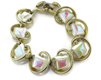 Vintage 1950s Link Bracelet with White Iridescent Glass Squares, Retro Glamour!